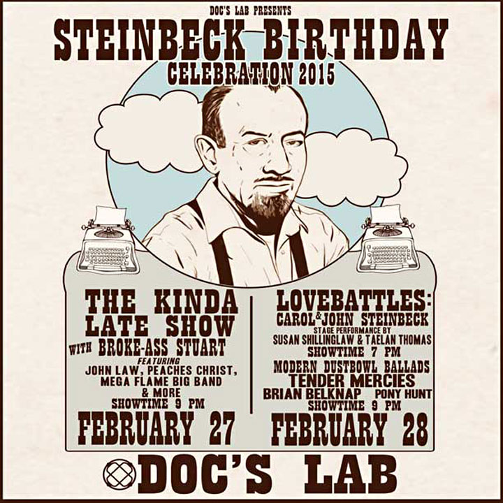 Poster image of John Steinbeck's birthday bash at Doc's Lab in San Francisco
