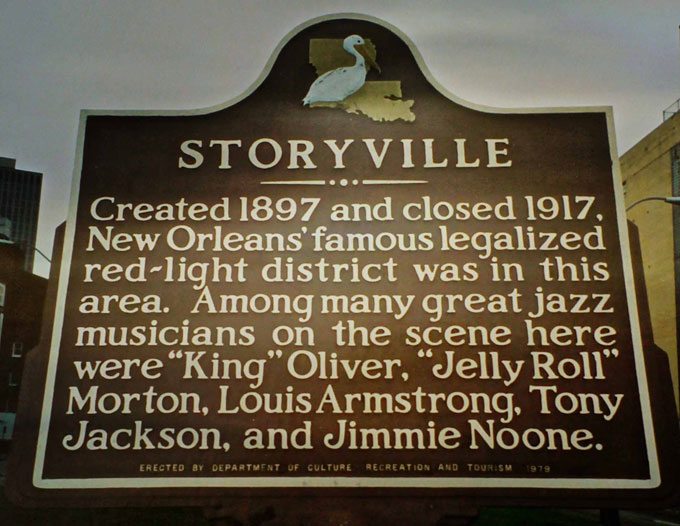 Image of New Orleans red-light district historic marker