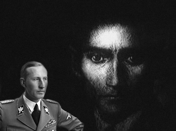 Composite image of Reinhard Heydrich and Franz Kafka