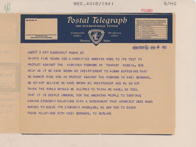 Page 1Page 2 image of the telegram sent by writers Including John Steinbeck to Franklin Roosevelt