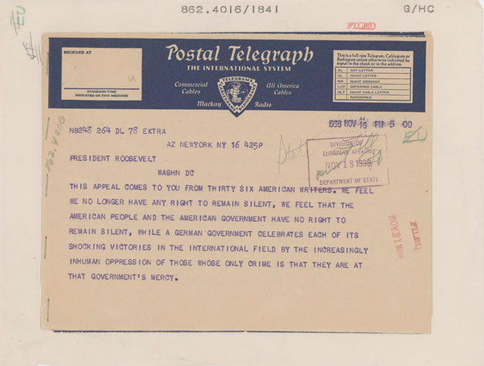 Page 1 image of the telegram sent by writers Including John Steinbeck to Franklin Roosevelt