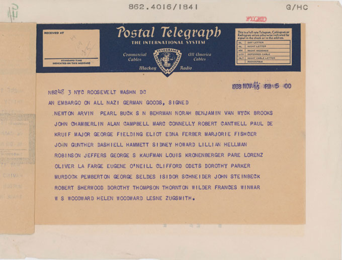 Page 3 image of the telegram sent by writers Including John Steinbeck to Franklin Roosevelt