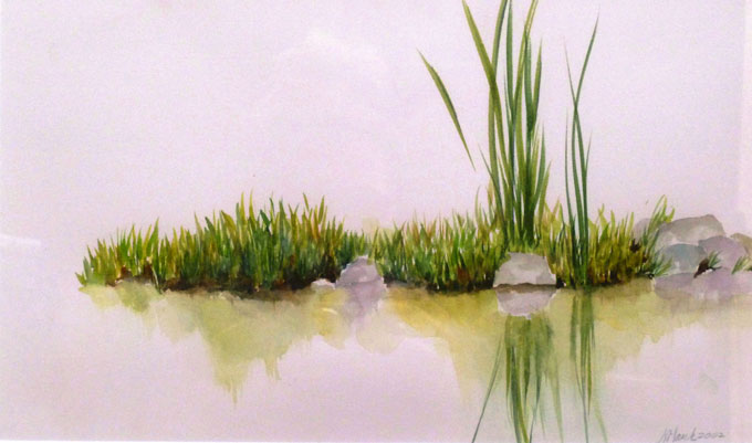 "Image of ""Reflecting Reeds,' zen-like watercolor by Nancy Hauk"