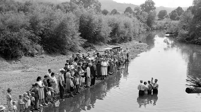 Image of Southern Appalachian creek baptism, circa 1940