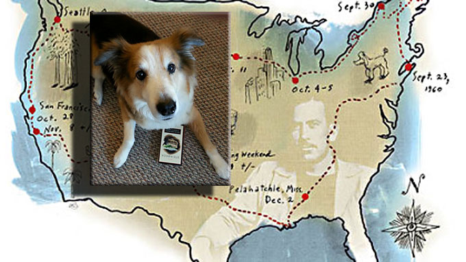 Image of John Steinbeck's Travels with Charley map with dog