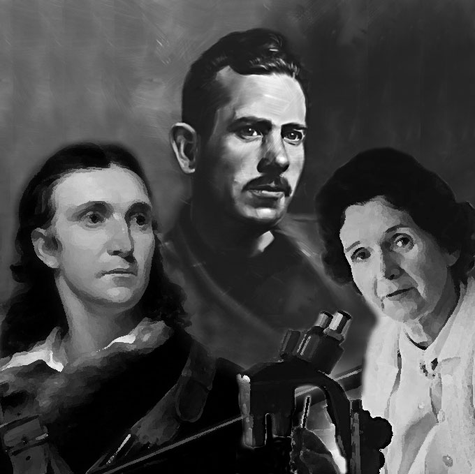 Composite image of John James Audubon, John Steinbeck, and Rachel Carson