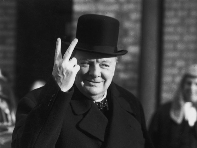 Image of Winston Churchill V-ing for victory
