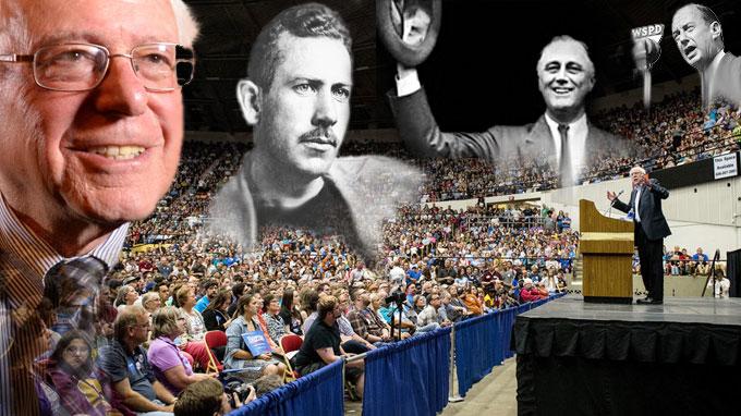 Composite image of Bernie Sanders, John Steinbeck, Franklin Roosevelt, and Adlai Stevenson