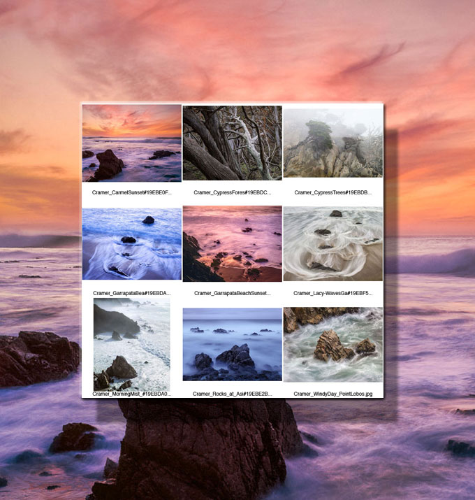 Composite image of Big Sur, Point Lobos, and Cannery Row in digital photography
