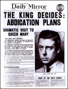 Image of newspaper report of King Edward VIII's abdication