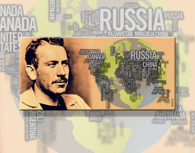 Composite image of John Steinbeck and the world served by San Jose State University's Steinbeck Center