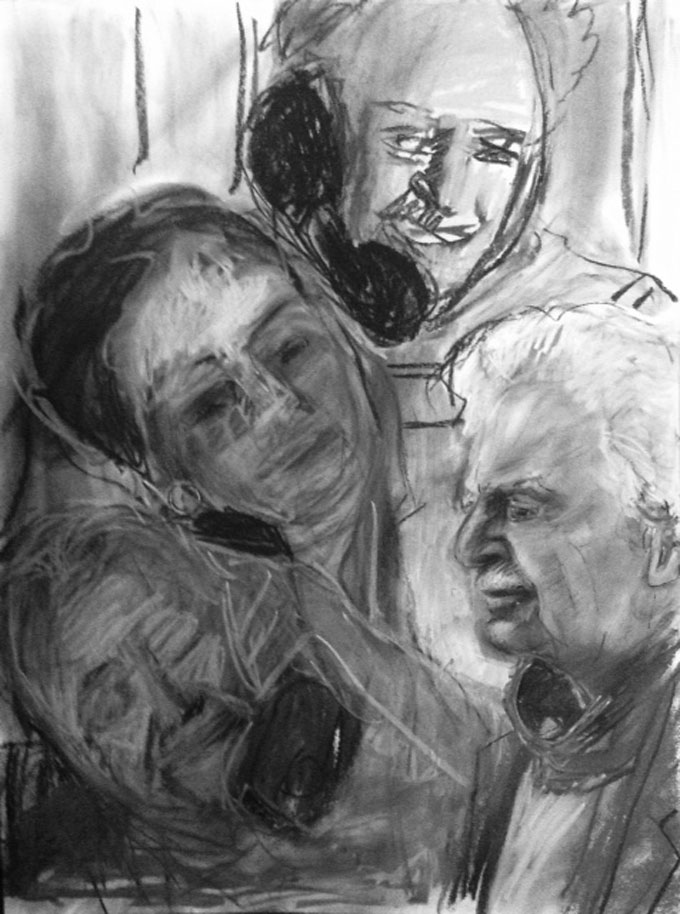 Portrait image of Bill, Ken Kesey, and Jean and Bruce Ariss by the artist CKline (Caroline)
