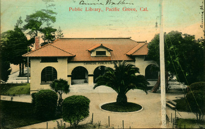 Postcard image of 1908 Carnegie library in Pacific Grove, California