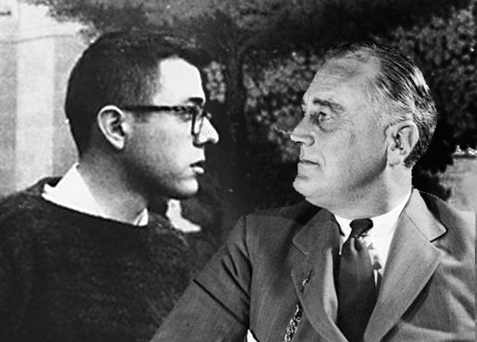 Image of Bernie Sanders as a student and Franklin Roosevelt as President