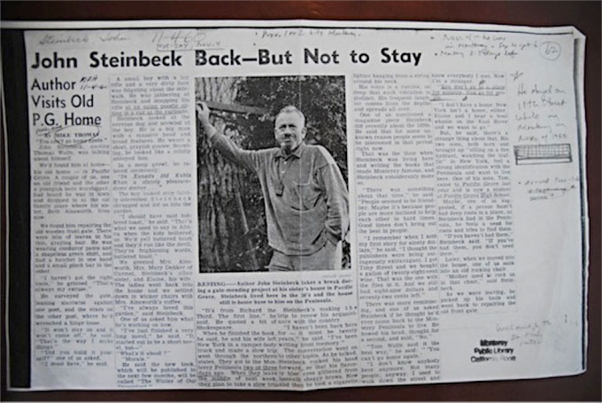 1960 Monterey Peninsula Herald story about Steinbeck's Pacific Grove stay