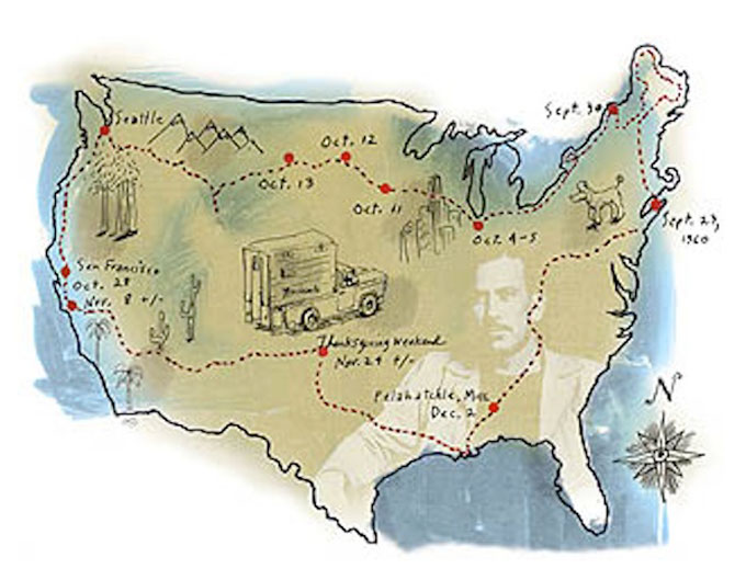 Image of Bill Steigerwald's timeline of Steinbeck's Travels with Charley