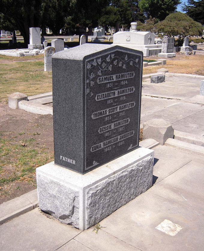 Image of Hamilton family gravesite in Salinas, California