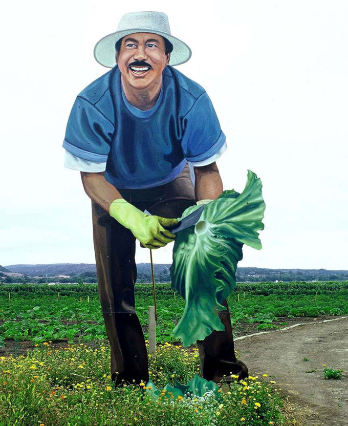 Image of field worker mural near Salinas by David A. Laws