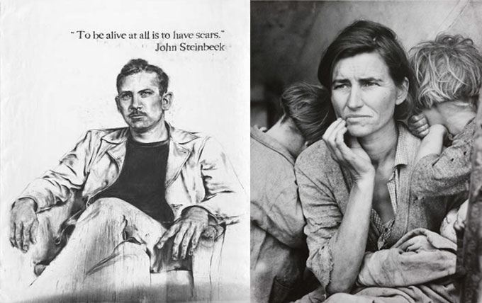 "Composite image of John Steinbeck's portrait and Dorothea Lange's ""Migrant Mother"""