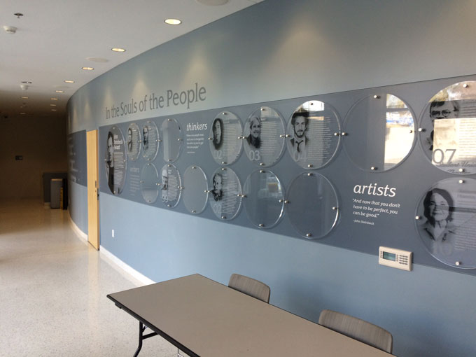 Image of John Steinbeck award wall at San Jose State University