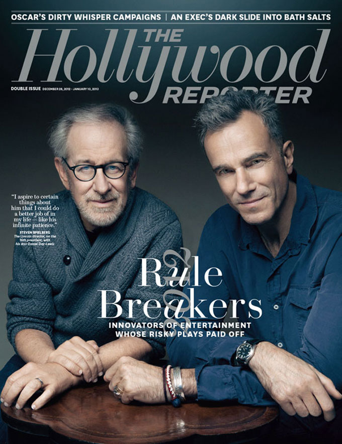 Cover image of The Hollywood Reporter with Steven Spielberg and Daniel Day-Lewis