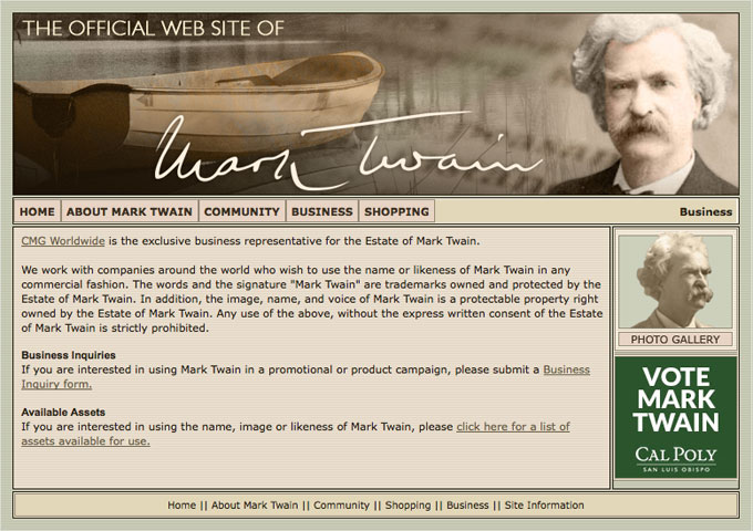 Screen shot of the official Mark Twain website