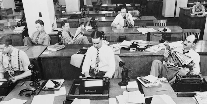 Image of the New York Times newsroom in 1942