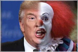 Image of Donald Trump scary clown