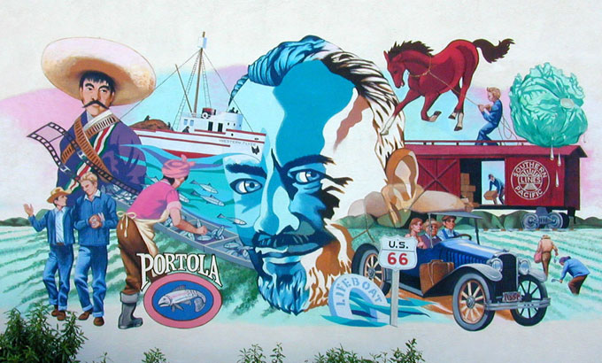 Image of John Steinbeck mural in Salinas, California