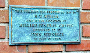 Image of Muller's Funeral Chapel sign in Salinas, California