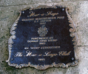 Image of memorial plaque at Mar-a-Lago