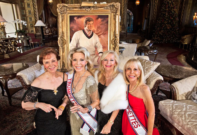 Image of Trumpettes with portrait of Donald Trump at Mar-a-Lago