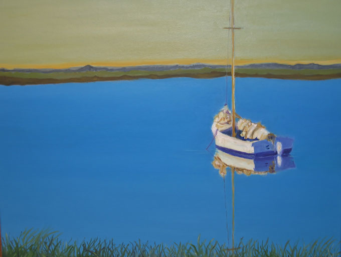 "Image of ""Sailboat with Furled Sail,"" oil on canvas by Martha Gallagher Michael"