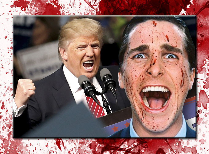 Composite image of Donald Trump and Christian Bale as American Psycho