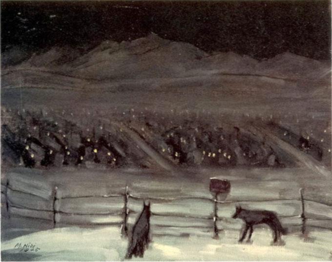Image of George Matsasaburo Hibbi's painting of Topaz camp