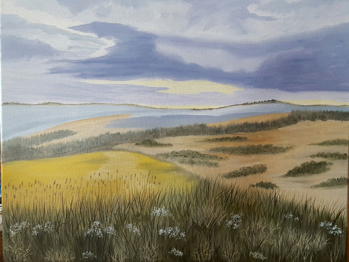 "Image of ""Late Summer Fields,"" oil painting by Linda Holmes"
