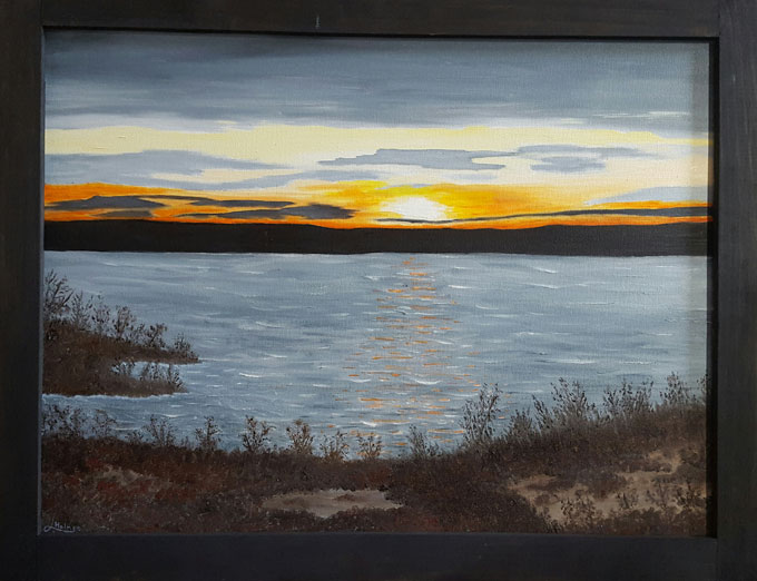 "Image of ""Michigan Sunset,"" oil painting by Linda Holmes"
