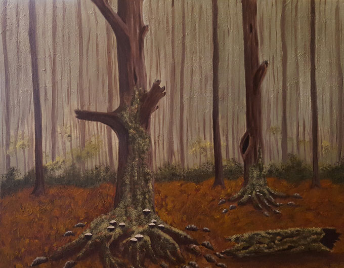 "Image of ""Mossy Old Growth,"" oil painting by Linda Holmes"