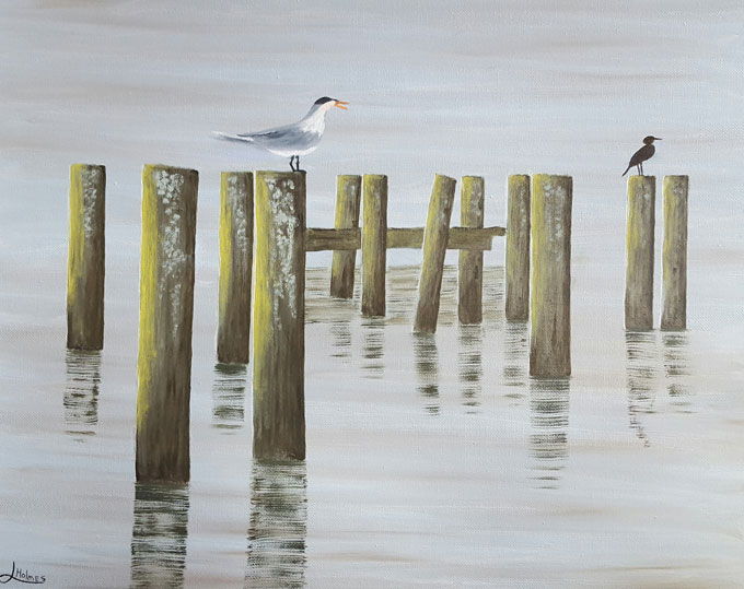 "Image of ""Old Docks"" oil painting by Linda Holmes"