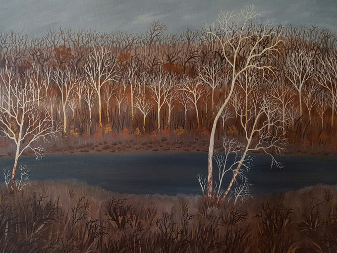 "Image of ""River Sycamores,"" oil painting by Linda Holmes"
