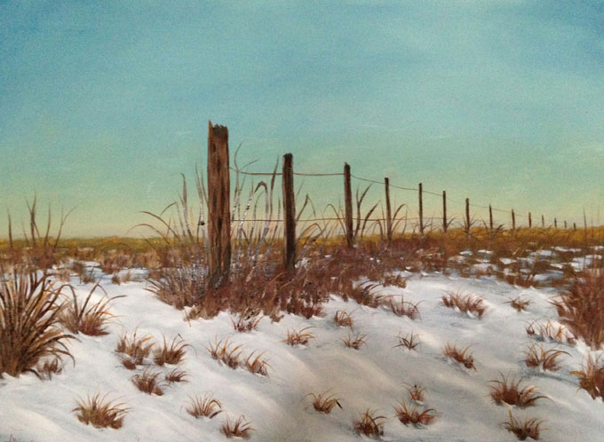 "Image of ""Western Fence Line,"" oil painting by Linda Holmes"