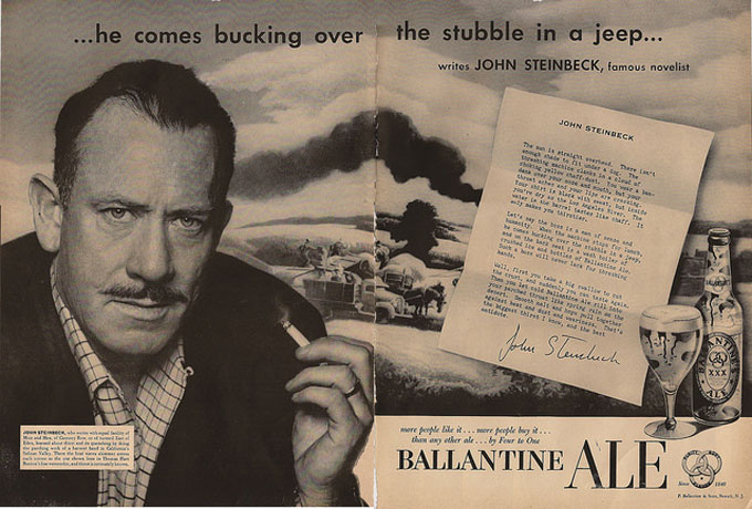 Image of John Steinbeck in Ballentine beer ad