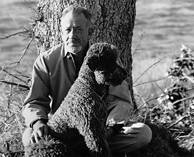 Image of John Steinbeck with French poodle Charley