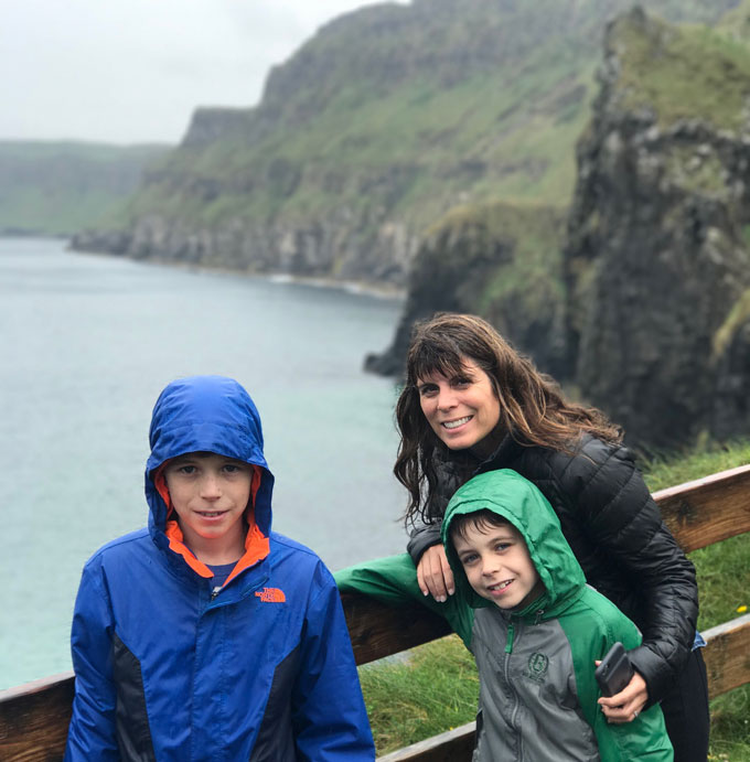 Image of Anne Hauk and sons at Giant's Causeway in Northern Ireland
