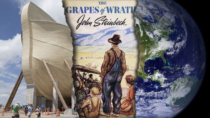 Composite image of The Grapes of Wrath, intelligent design, climate deniers