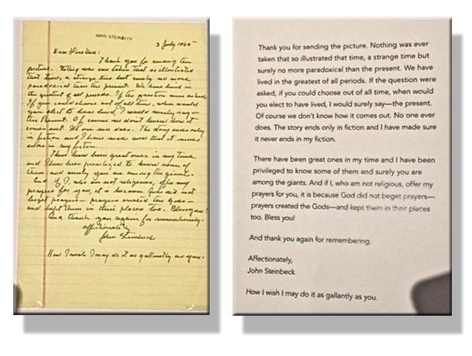 Image of John Steinbeck's 1960 letter to Dorothea Lange