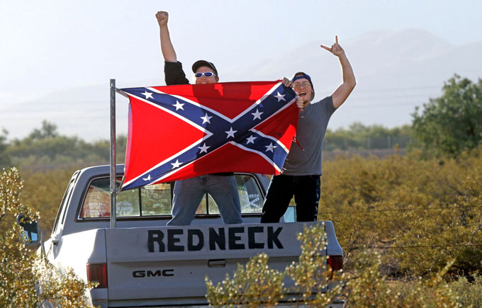 Image of rednecks with Confederate flage