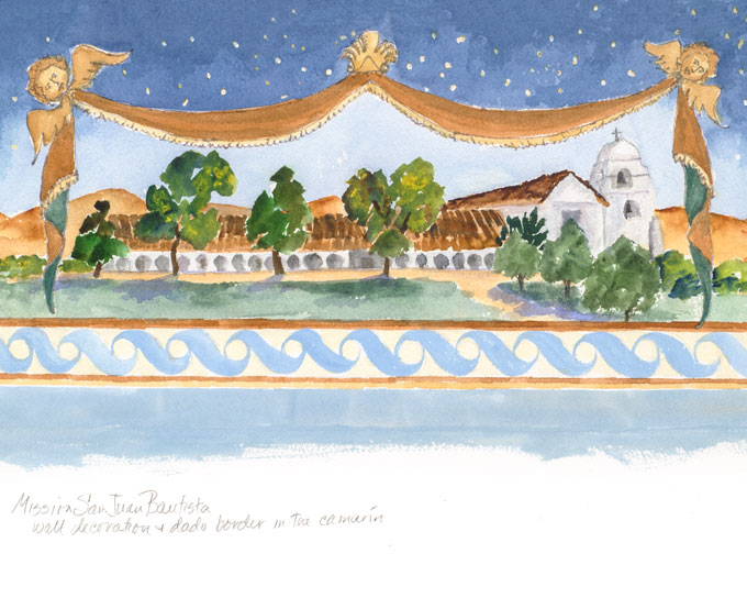Image of Mission San Juan Bautista painting by Nancy Hauk
