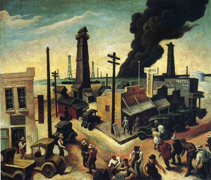 "Image of ""Boomtown,"" 1928 painting by Thomas Hart Benton"